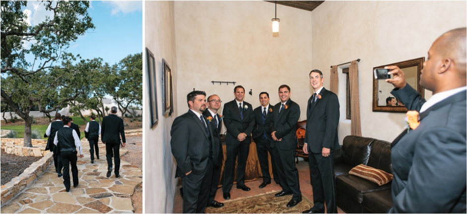 weddings austin 3 groomsmen getting ready for ceremony Indianapolis Wedding Photographer | Wedding at Lost Mission San Antonio