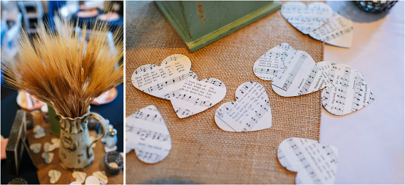 cut out sheets of music in shape of hearts wheat grains as flower arrangements