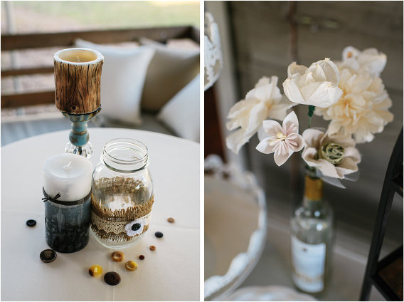 paper flowers in wine bottle candles buttons mason jars