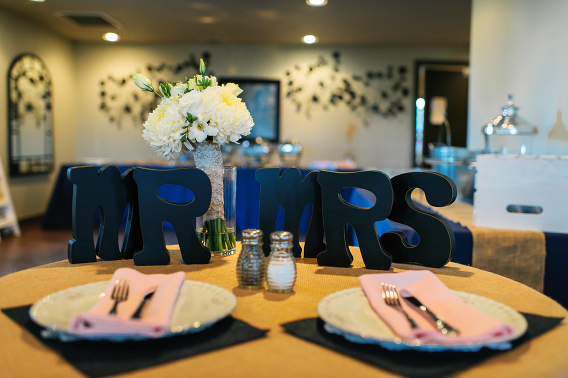 Mr & Mrs head table sign for couple